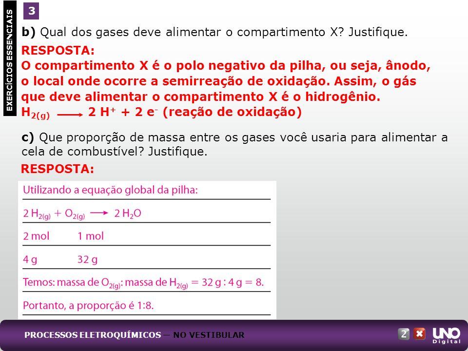 b) Qual dos gases deve alimentar o compartimento X.