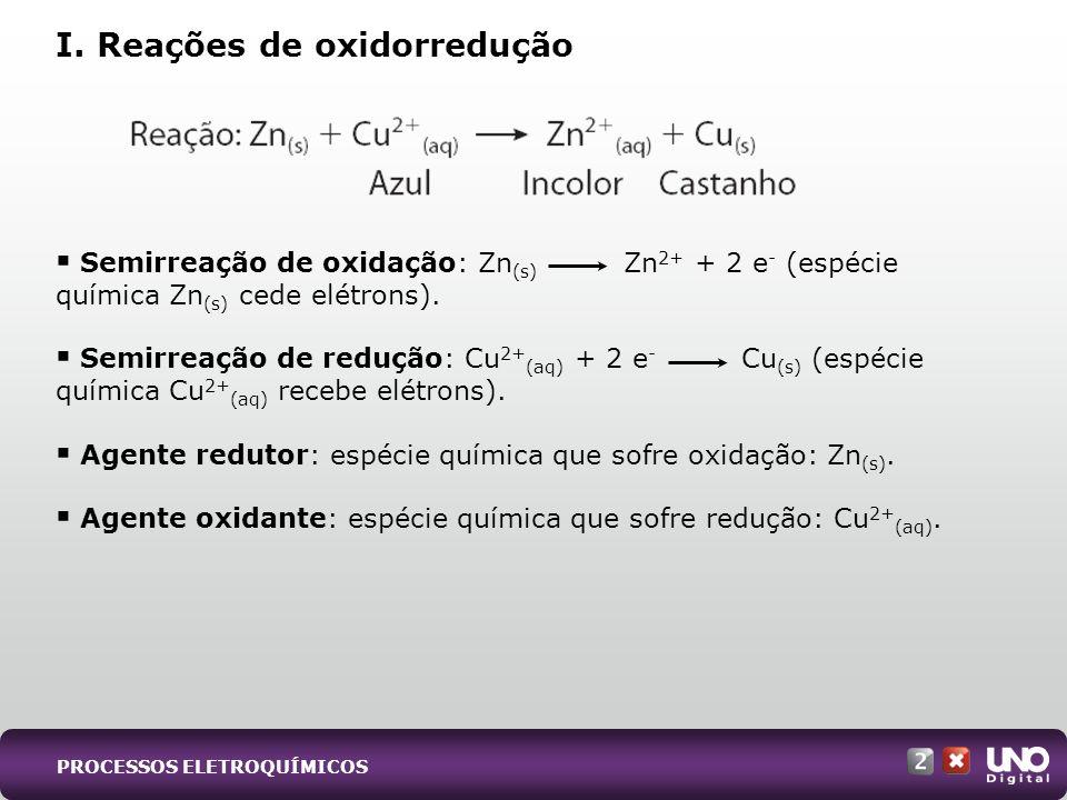 Semirreação de oxidação: Zn (s) Zn 2+ + 2 e - (espécie química Zn (s) cede elétrons).