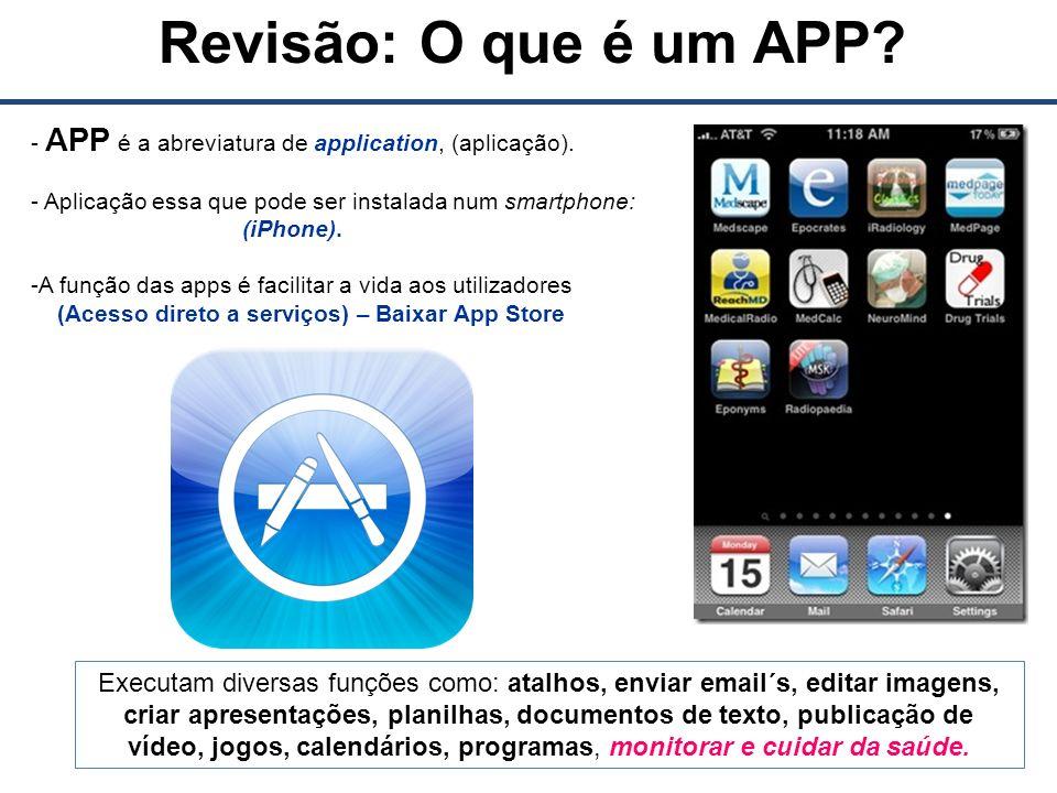 Revisão: O que é um APP. - APP é a abreviatura de application, (aplicação).