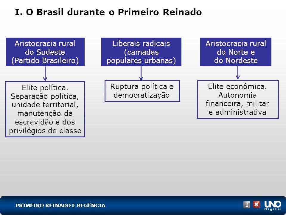 I. O Brasil durante o Primeiro Reinado PRIMEIRO REINADO E REGÊNCIA Ruptura política e democratização Elite econômica. Autonomia financeira, militar e