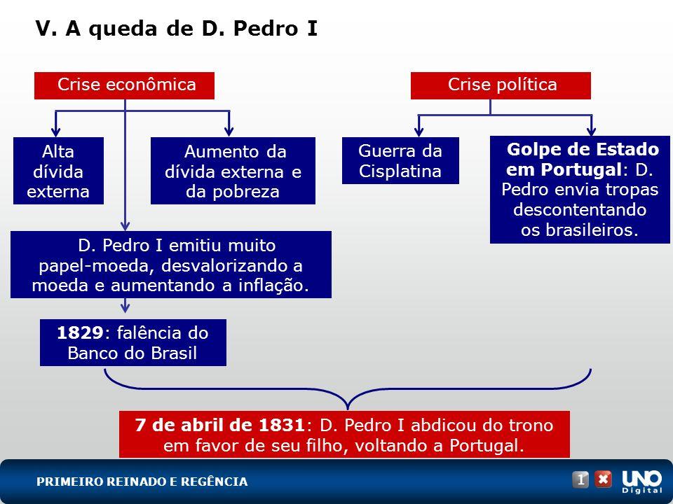 V. A queda de D. Pedro I Crise econômica Alta dívida externa Aumento da dívida externa e da pobreza 7 de abril de 1831: D. Pedro I abdicou do trono em