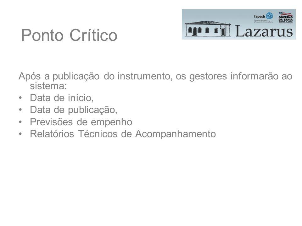 Ponto Crítico Após a publicação do instrumento, os gestores informarão ao sistema: Data de início, Data de publicação, Previsões de empenho Relatórios