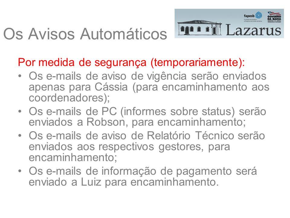 Por medida de segurança (temporariamente): Os e-mails de aviso de vigência serão enviados apenas para Cássia (para encaminhamento aos coordenadores);