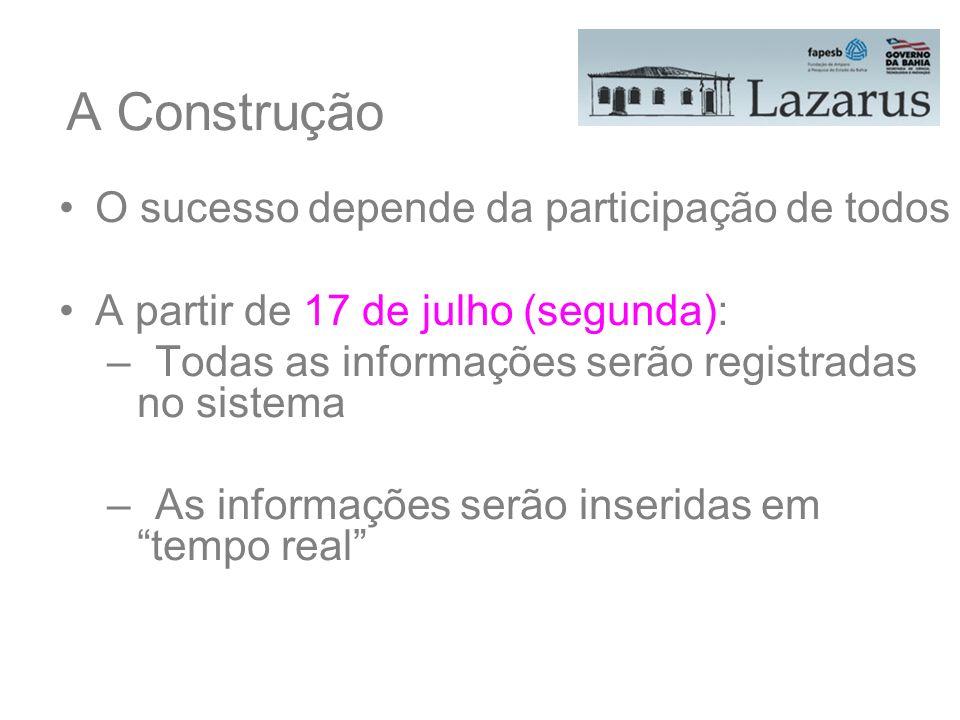 A Construção O sucesso depende da participação de todos A partir de 17 de julho (segunda): –Todas as informações serão registradas no sistema –As informações serão inseridas em tempo real