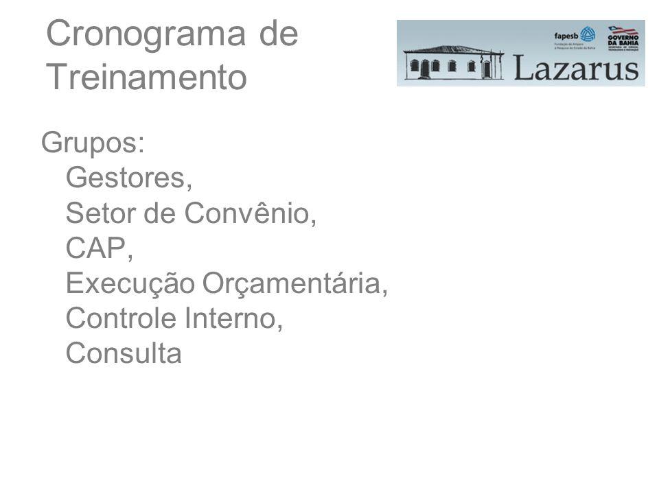 Cronograma de Treinamento Grupos: Gestores, Setor de Convênio, CAP, Execução Orçamentária, Controle Interno, Consulta