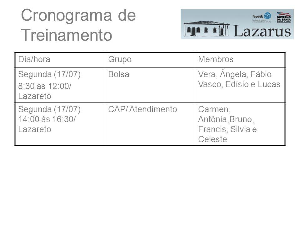 Dia/horaGrupoMembros Segunda (17/07) 8:30 às 12:00/ Lazareto BolsaVera, Ângela, Fábio Vasco, Edísio e Lucas Segunda (17/07) 14:00 às 16:30/ Lazareto C