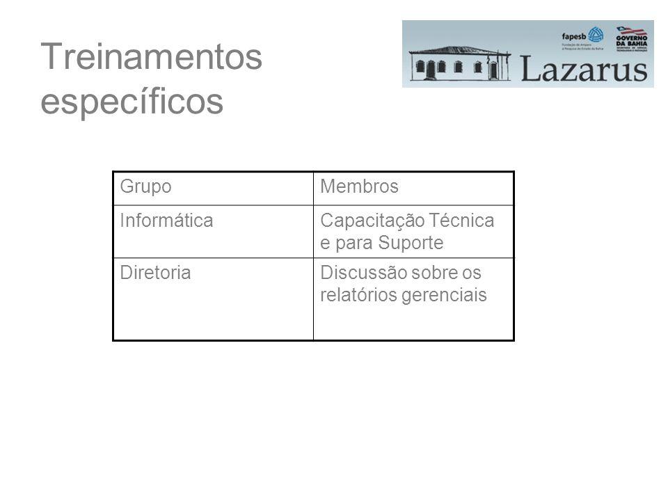 Treinamentos específicos GrupoMembros InformáticaCapacitação Técnica e para Suporte DiretoriaDiscussão sobre os relatórios gerenciais