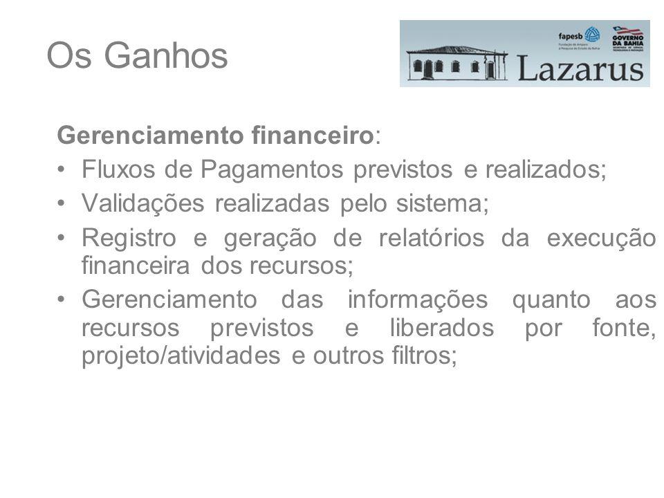 Os Ganhos Gerenciamento financeiro: Fluxos de Pagamentos previstos e realizados; Validações realizadas pelo sistema; Registro e geração de relatórios