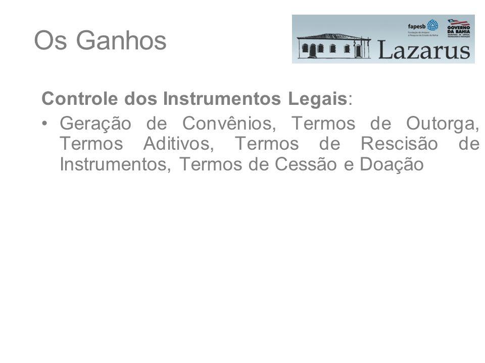 Os Ganhos Controle dos Instrumentos Legais: Geração de Convênios, Termos de Outorga, Termos Aditivos, Termos de Rescisão de Instrumentos, Termos de Ce