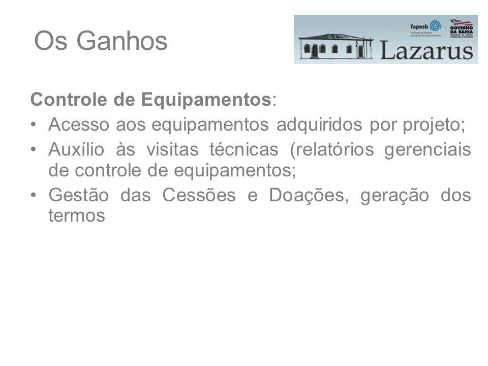 Os Ganhos Controle de Equipamentos: Acesso aos equipamentos adquiridos por projeto; Auxílio às visitas técnicas (relatórios gerenciais de controle de
