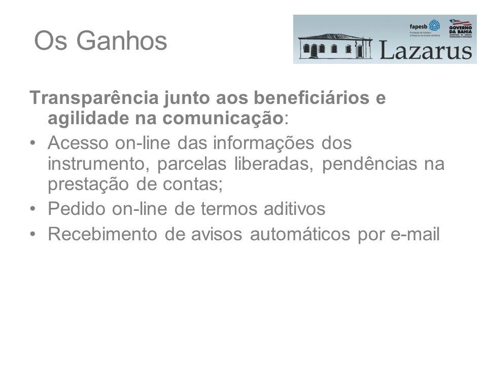Os Ganhos Transparência junto aos beneficiários e agilidade na comunicação: Acesso on-line das informações dos instrumento, parcelas liberadas, pendên