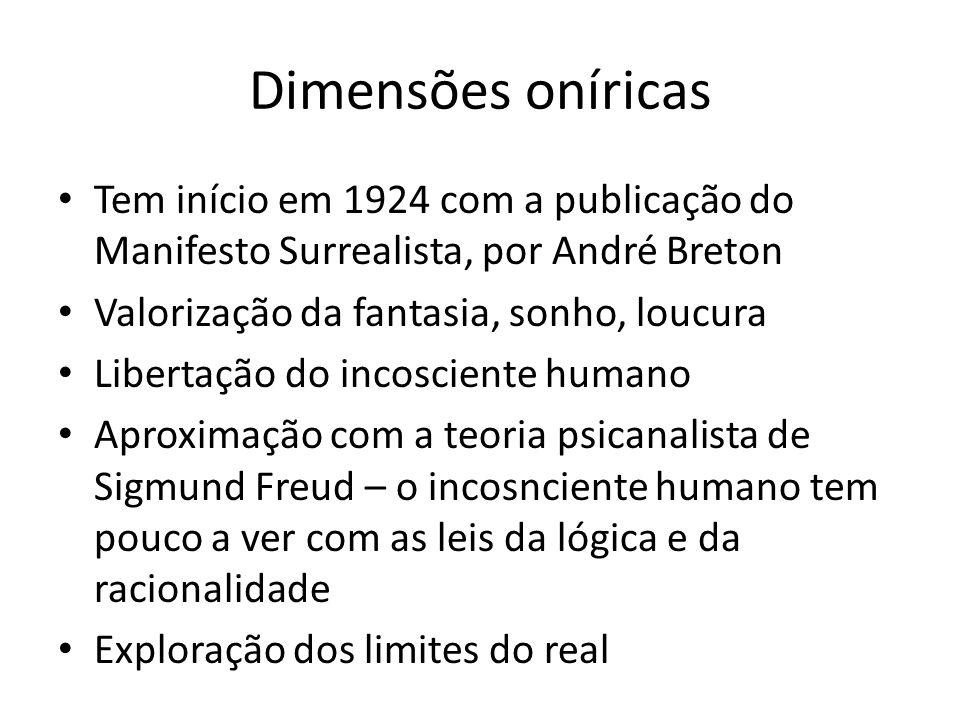 Dimensões oníricas Tem início em 1924 com a publicação do Manifesto Surrealista, por André Breton Valorização da fantasia, sonho, loucura Libertação d