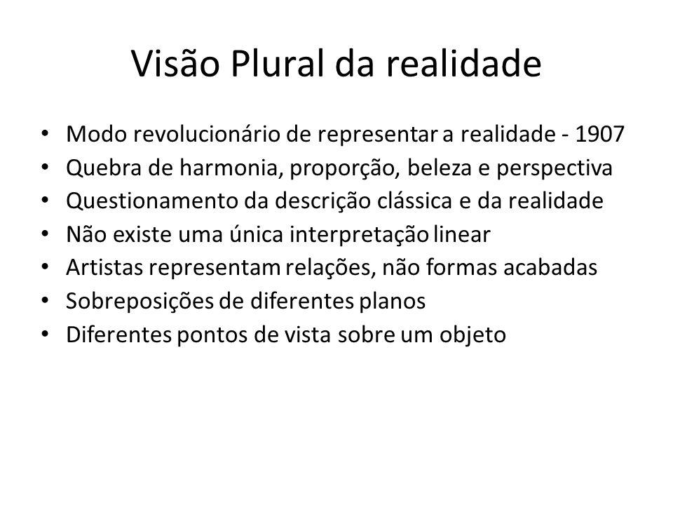 Visão Plural da realidade Modo revolucionário de representar a realidade - 1907 Quebra de harmonia, proporção, beleza e perspectiva Questionamento da