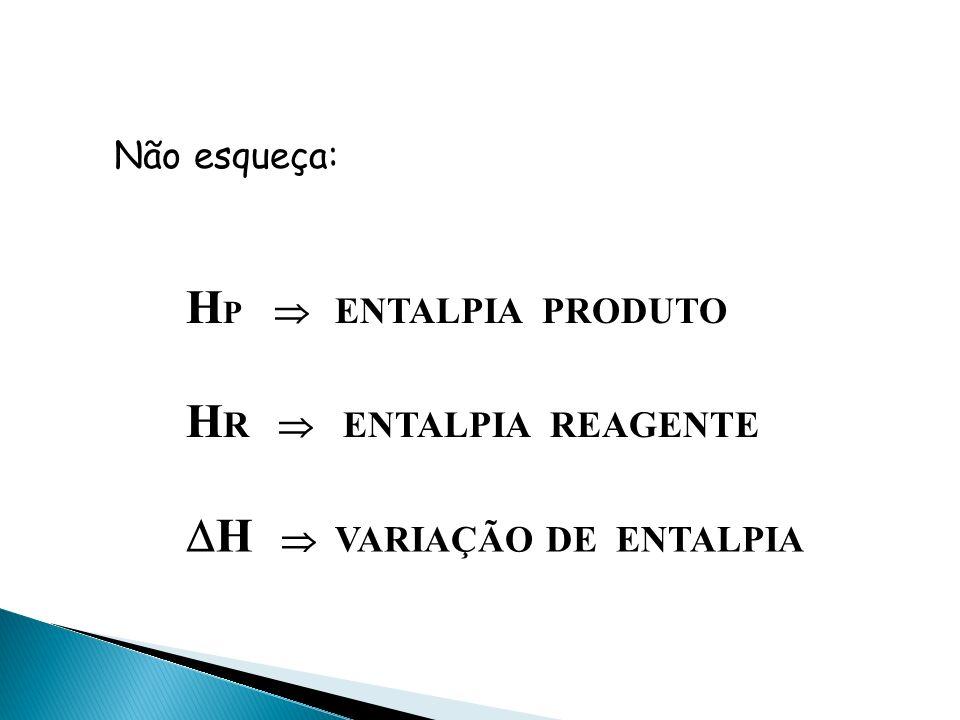 A + B C + D + CALOR REAÇÃO EXOTÉRMICA A + B + CALOR C + D REAÇÃO ENDOTÉRMICA HRHR HRHR HP HP HP HP
