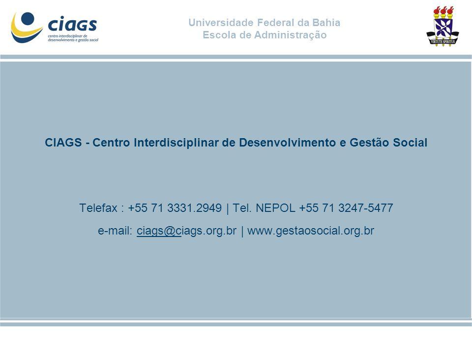 Universidade Federal da Bahia Escola de Administração CIAGS - Centro Interdisciplinar de Desenvolvimento e Gestão Social Telefax : +55 71 3331.2949 |