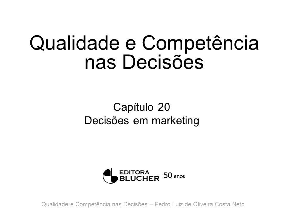 Qualidade e Competência nas Decisões Capítulo 20 Decisões em marketing Qualidade e Competência nas Decisões – Pedro Luiz de Oliveira Costa Neto