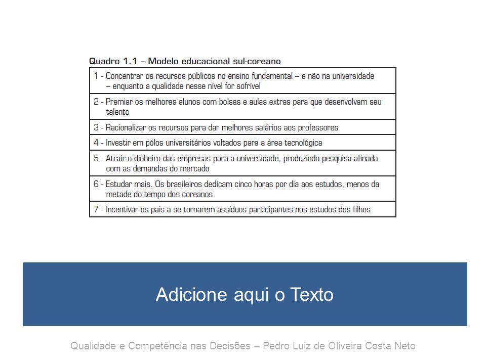 Qualidade e Competência nas Decisões Capítulo 2 Decisões com qualidade Qualidade e Competência nas Decisões – Pedro Luiz de Oliveira Costa Neto