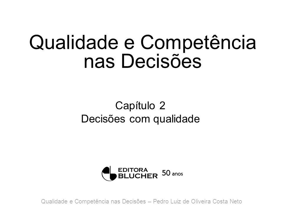 Qualidade e Competência nas Decisões Capítulo 11 Decisões sob incerteza Qualidade e Competência nas Decisões – Pedro Luiz de Oliveira Costa Neto