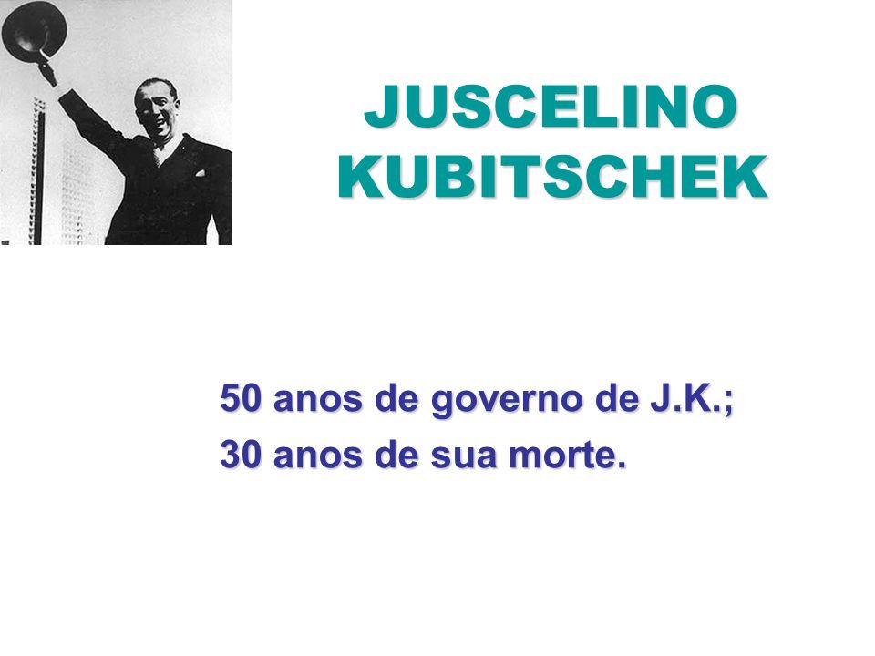 JUSCELINO KUBITSCHEK 50 anos de governo de J.K.; 30 anos de sua morte.
