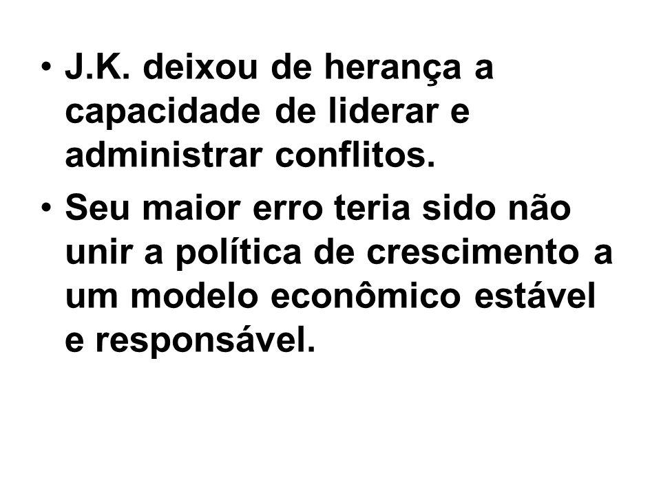 J.K. deixou de herança a capacidade de liderar e administrar conflitos. Seu maior erro teria sido não unir a política de crescimento a um modelo econô