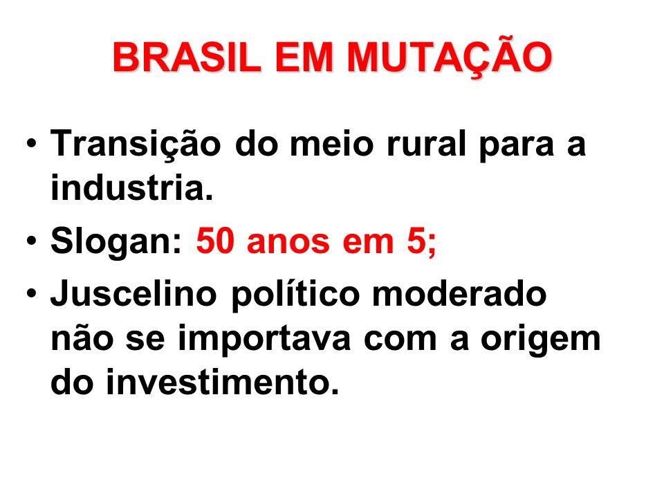 BRASIL EM MUTAÇÃO Transição do meio rural para a industria. Slogan: 50 anos em 5; Juscelino político moderado não se importava com a origem do investi