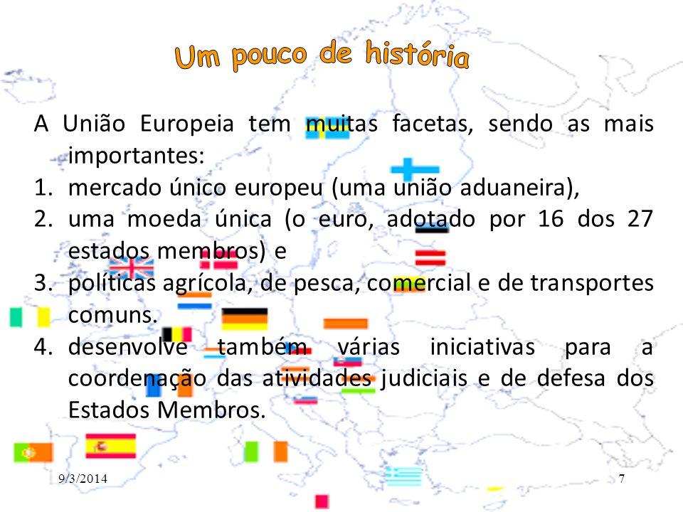 Principais instituições Conselho (Europeu e de Ministros) Parlamento Europeu Comissão Europeia Tribunal de Justiça 9/3/20148