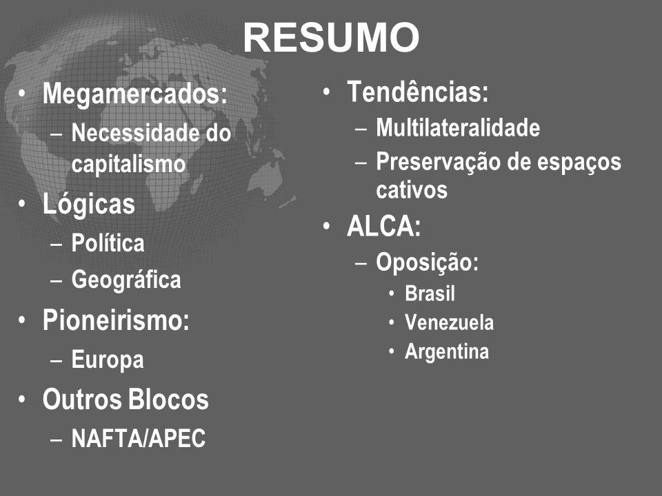 RESUMO Megamercados: – Necessidade do capitalismo Lógicas – Política – Geográfica Pioneirismo: – Europa Outros Blocos – NAFTA/APEC Tendências: – Multi