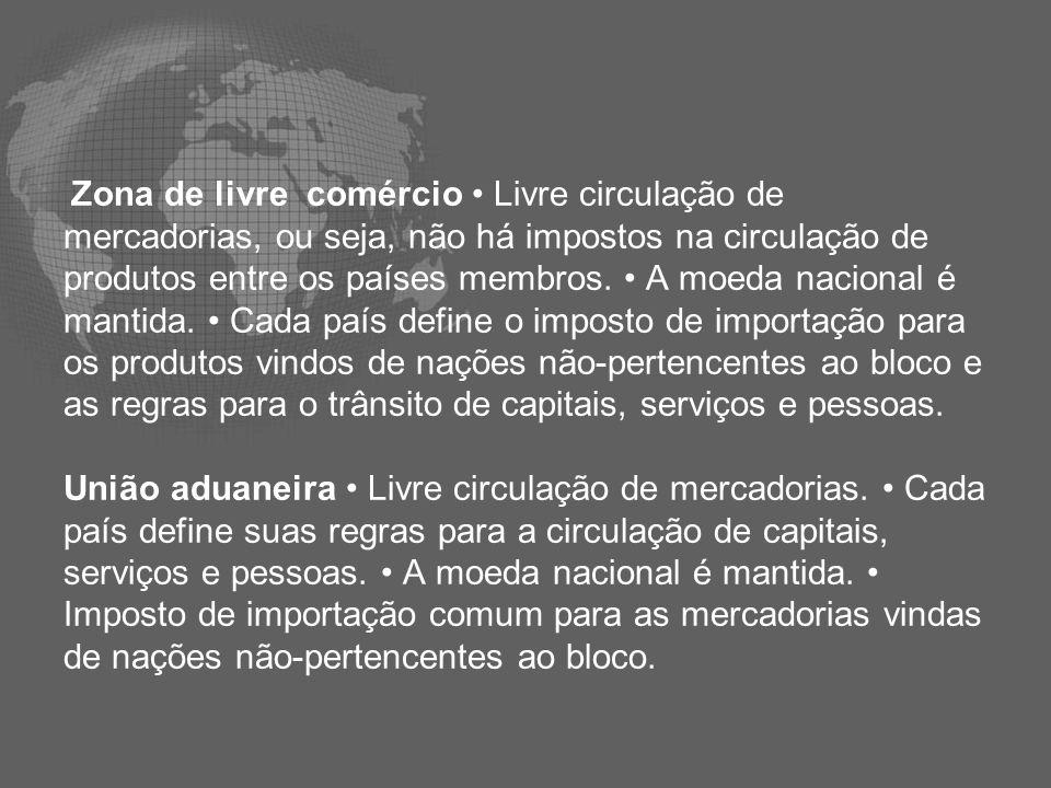 Mercado comum Livre circulação de mercadorias, capitais, serviços e pessoas.