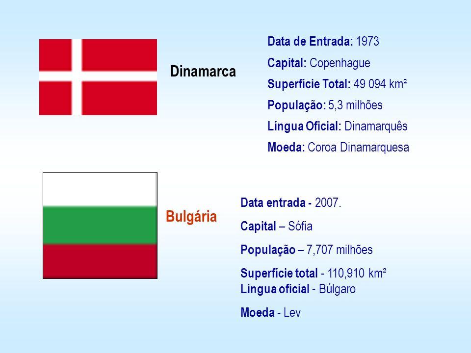 Data de Entrada: 1973 Capital: Copenhague Superfície Total: 49 094 km² População: 5,3 milhões Língua Oficial: Dinamarquês Moeda: Coroa Dinamarquesa Di