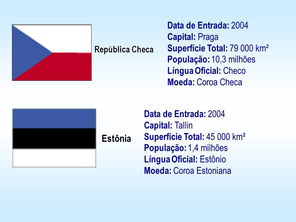 República Checa Estônia Data de Entrada: 2004 Capital: Praga Superfície Total: 79 000 km² População: 10,3 milhões Língua Oficial: Checo Moeda: Coroa C