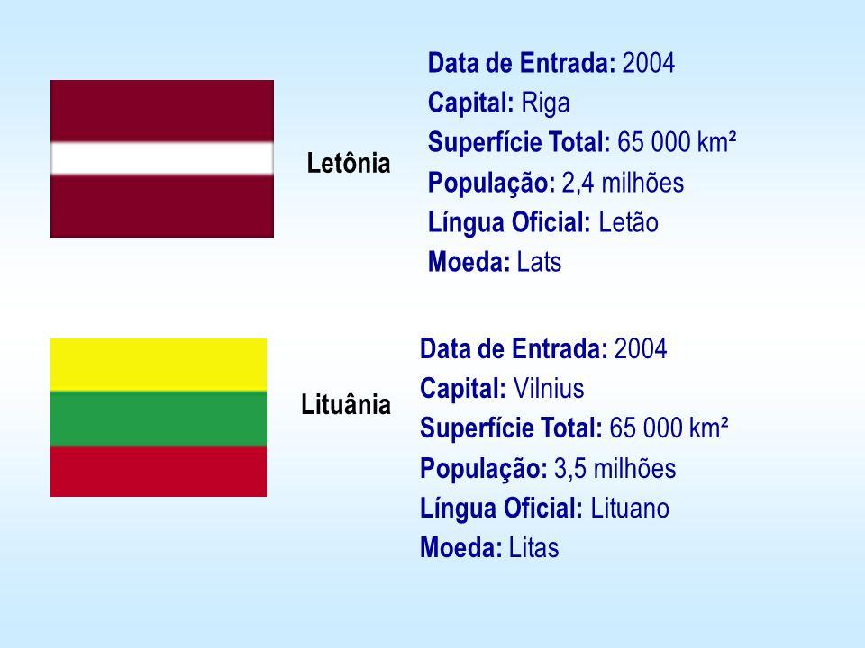Letônia Lituânia Data de Entrada: 2004 Capital: Riga Superfície Total: 65 000 km² População: 2,4 milhões Língua Oficial: Letão Moeda: Lats Data de Ent