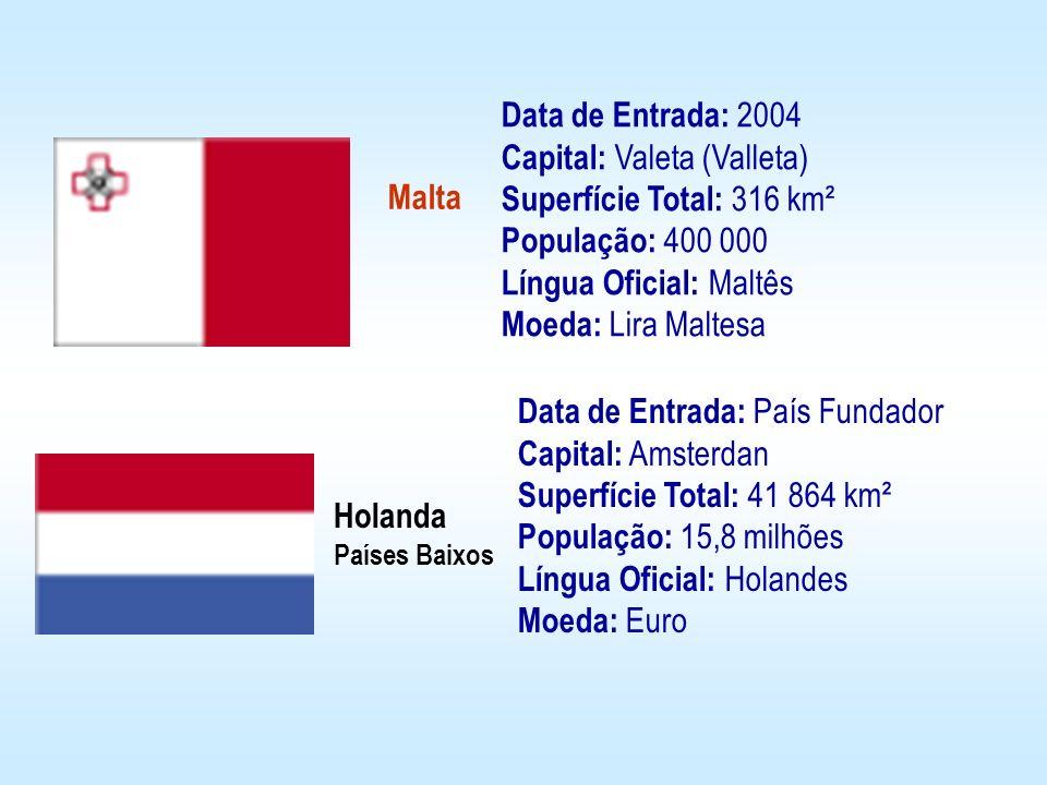 Malta Holanda Países Baixos Data de Entrada: 2004 Capital: Valeta (Valleta) Superfície Total: 316 km² População: 400 000 Língua Oficial: Maltês Moeda: