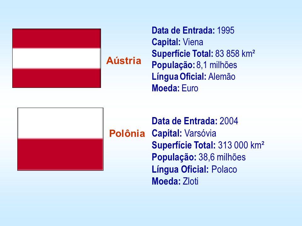 Aústria Polônia Data de Entrada: 2004 Capital: Varsóvia Superfície Total: 313 000 km² População: 38,6 milhões Língua Oficial: Polaco Moeda: Zloti Data