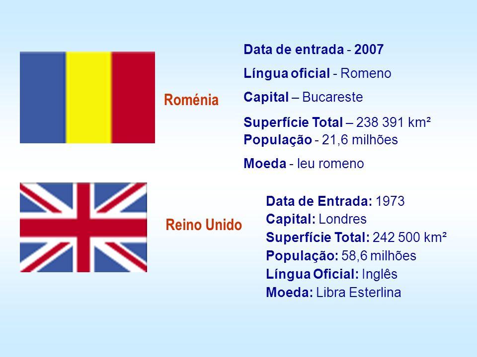 Roménia Data de entrada - 2007 Língua oficial - Romeno Capital – Bucareste Superfície Total – 238 391 km² População - 21,6 milhões Moeda - leu romeno