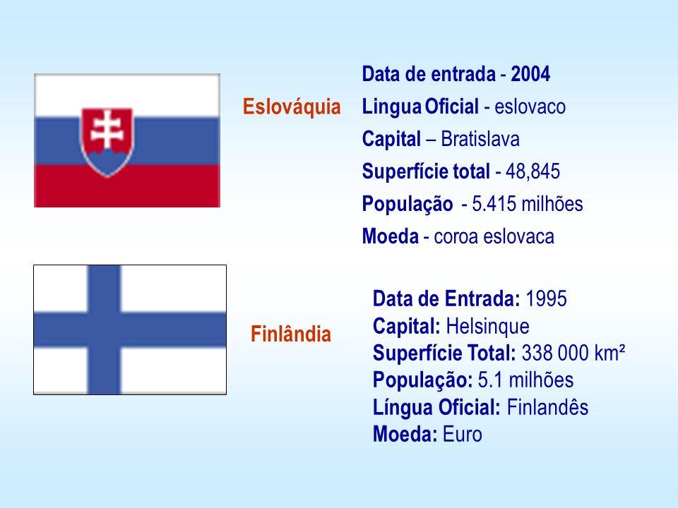 Eslováquia Finlândia Data de Entrada: 1995 Capital: Helsinque Superfície Total: 338 000 km² População: 5.1 milhões Língua Oficial: Finlandês Moeda: Eu