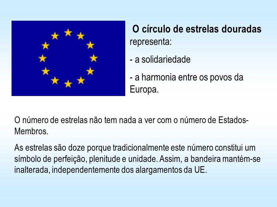 O círculo de estrelas douradas representa: - a solidariedade harmonia entre os povos da Europa. O número de estrelas não tem nada a ver com o número d