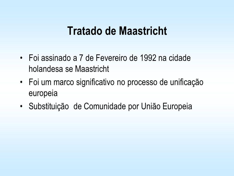 Tratado de Maastricht Foi assinado a 7 de Fevereiro de 1992 na cidade holandesa se Maastricht Foi um marco significativo no processo de unificação eur