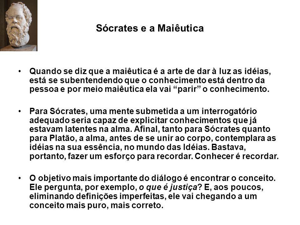 Sócrates e a Maiêutica Quando se diz que a maiêutica é a arte de dar à luz as idéias, está se subentendendo que o conhecimento está dentro da pessoa e