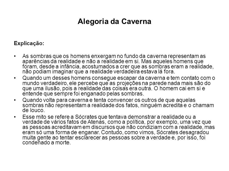 Alegoria da Caverna Explicação: As sombras que os homens enxergam no fundo da caverna representam as aparências da realidade e não a realidade em si.