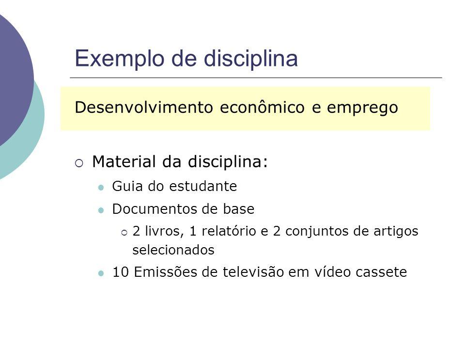 Exemplo de disciplina Desenvolvimento econômico e emprego Material da disciplina: Guia do estudante Documentos de base 2 livros, 1 relatório e 2 conjuntos de artigos selecionados 10 Emissões de televisão em vídeo cassete
