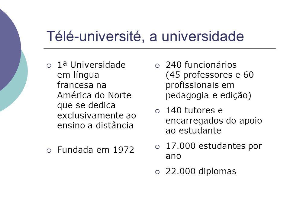 Télé-université, a universidade 1ª Universidade em língua francesa na América do Norte que se dedica exclusivamente ao ensino a distância Fundada em 1972 240 funcionários (45 professores e 60 profissionais em pedagogia e edição) 140 tutores e encarregados do apoio ao estudante 17.000 estudantes por ano 22.000 diplomas