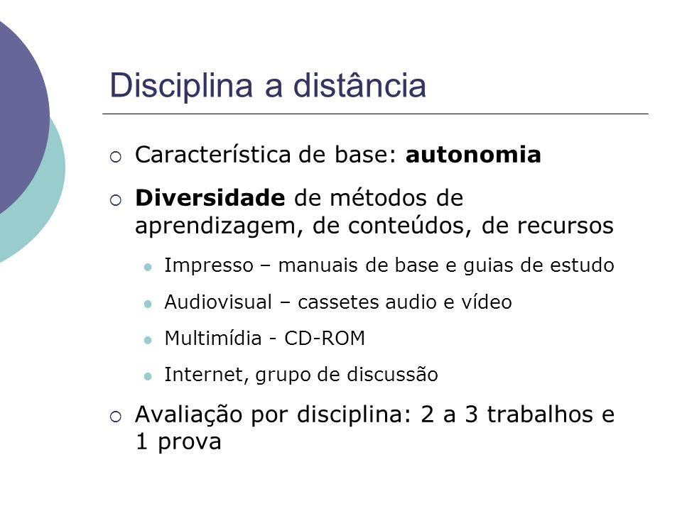 Disciplina a distância Característica de base: autonomia Diversidade de métodos de aprendizagem, de conteúdos, de recursos Impresso – manuais de base