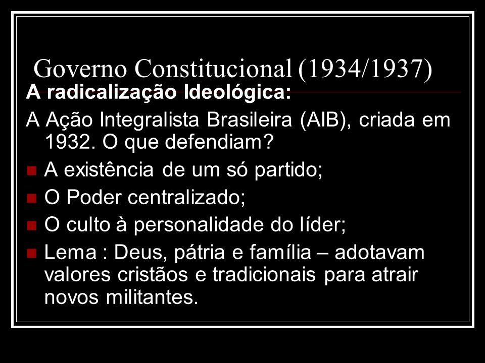 Governo Constitucional (1934/1937) A radicalização Ideológica: A Ação Integralista Brasileira (AIB), criada em 1932. O que defendiam? A existência de