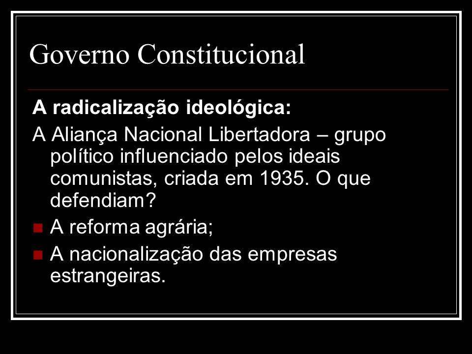 Governo Constitucional A radicalização ideológica: A Aliança Nacional Libertadora – grupo político influenciado pelos ideais comunistas, criada em 193