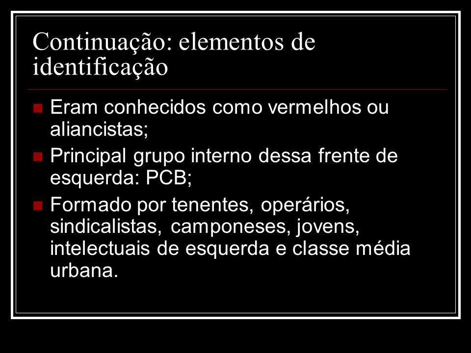 Continuação: elementos de identificação Eram conhecidos como vermelhos ou aliancistas; Principal grupo interno dessa frente de esquerda: PCB; Formado