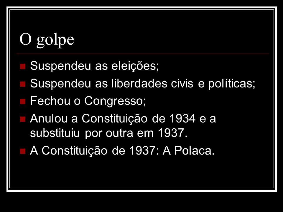 O golpe Suspendeu as eleições; Suspendeu as liberdades civis e políticas; Fechou o Congresso; Anulou a Constituição de 1934 e a substituiu por outra e