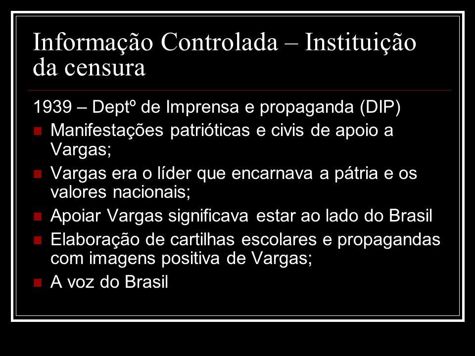 Informação Controlada – Instituição da censura 1939 – Deptº de Imprensa e propaganda (DIP) Manifestações patrióticas e civis de apoio a Vargas; Vargas