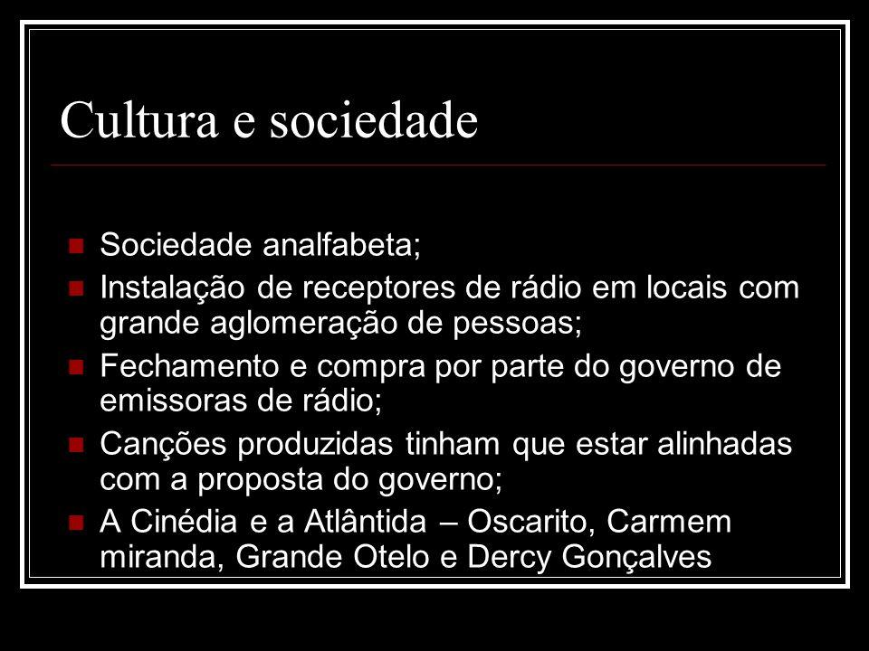 Cultura e sociedade Sociedade analfabeta; Instalação de receptores de rádio em locais com grande aglomeração de pessoas; Fechamento e compra por parte