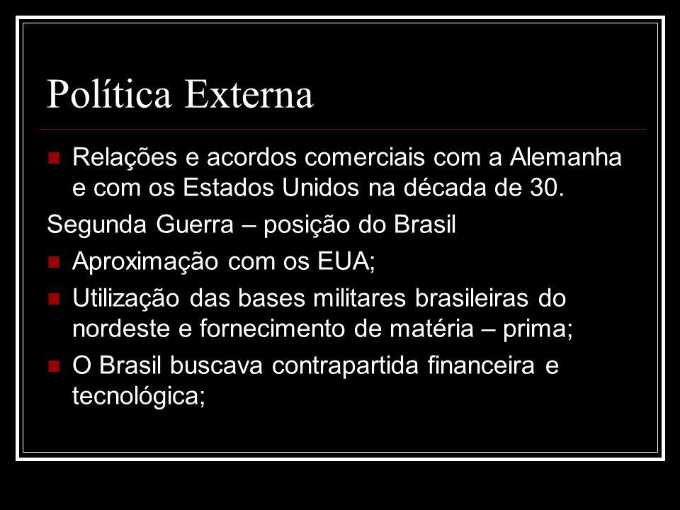 Política Externa Relações e acordos comerciais com a Alemanha e com os Estados Unidos na década de 30. Segunda Guerra – posição do Brasil Aproximação