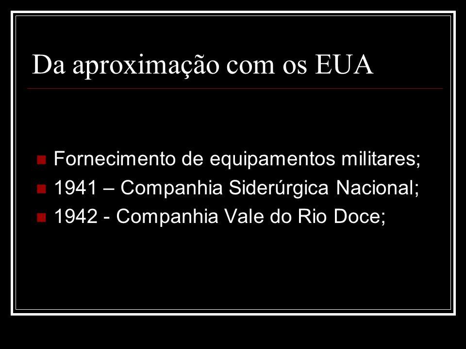 Da aproximação com os EUA Fornecimento de equipamentos militares; 1941 – Companhia Siderúrgica Nacional; 1942 - Companhia Vale do Rio Doce;